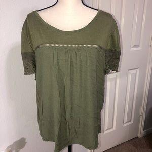 Soho Jeans Ny&Co Olive Green Crochet Sleeve Top XL